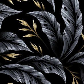 Jungle Leaves Coordinate - Grey / Gold - LARGE