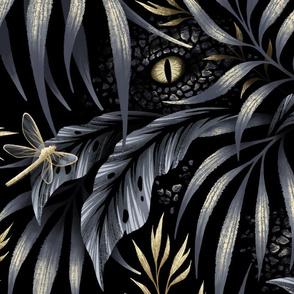 Jurassic Jungle - Grey / Gold - LARGE