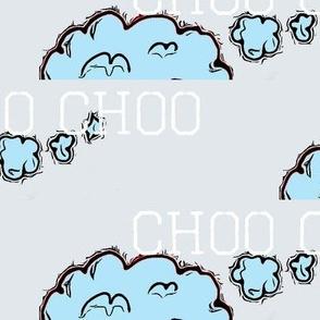 ChuggaChoo Clouds Word Print, Light Blue, Gray