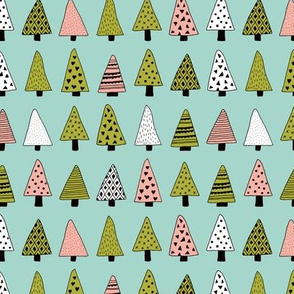 Fall forest geometric triangle christmas trees seasonal holidays forest green