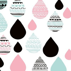 rainy day drops are falling from the sky aztec water pink blue