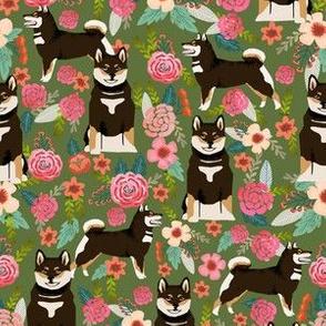 shiba inu black and tan dog cute shiba inu pet portrait florals green flowers