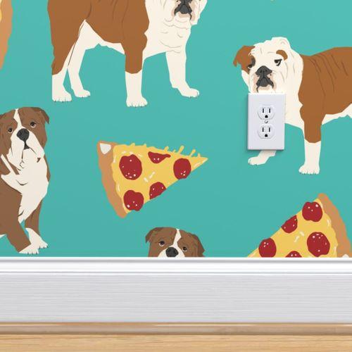 Wallpaper English Bulldog And Pizzas Food Dog Pizza Dog Fabric Cute English Bulldog Design Dogs With Pizza