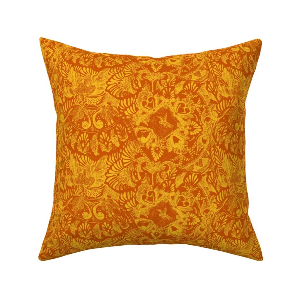 Catalan Throw Pillow featuring Talavera tumble sketch orange  by wren_leyland