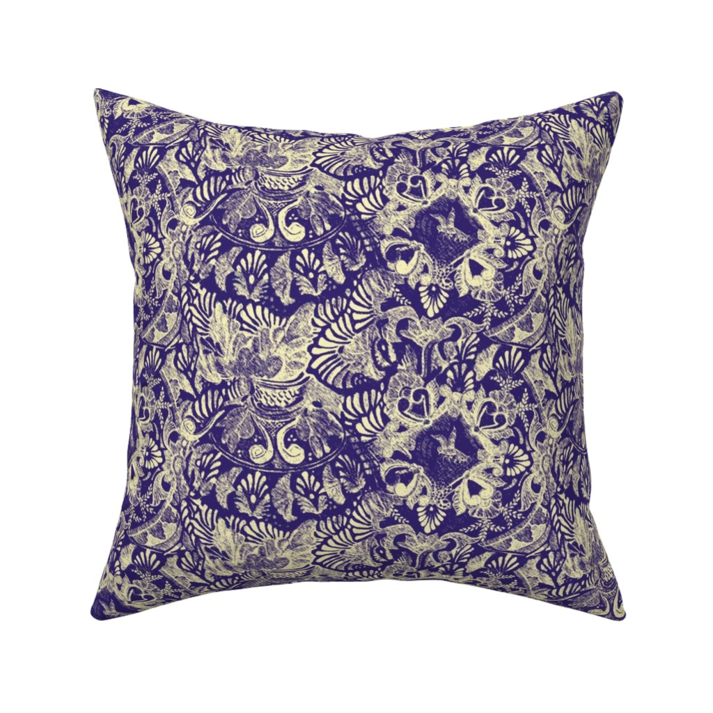 Catalan Throw Pillow featuring Talavera tumble sketch-purple by wren_leyland