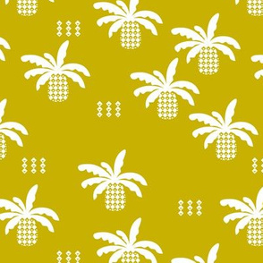 Geometric abstract palm tree pineapple print ochre yellow fall
