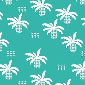 Geometric abstract palm tree pineapple print