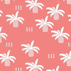 Geometric abstract palm tree pineapple print pink