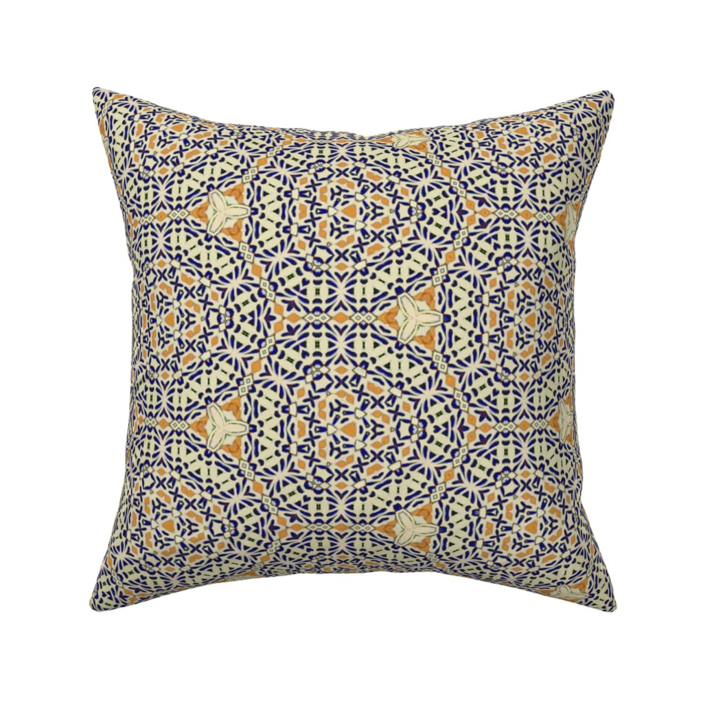 Catalan Throw Pillow featuring Talavera rosettes mex by wren_leyland
