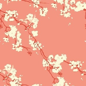 Cherry Blossoms in Coral // Modern Japanese floral pattern by Zoe Charlotte