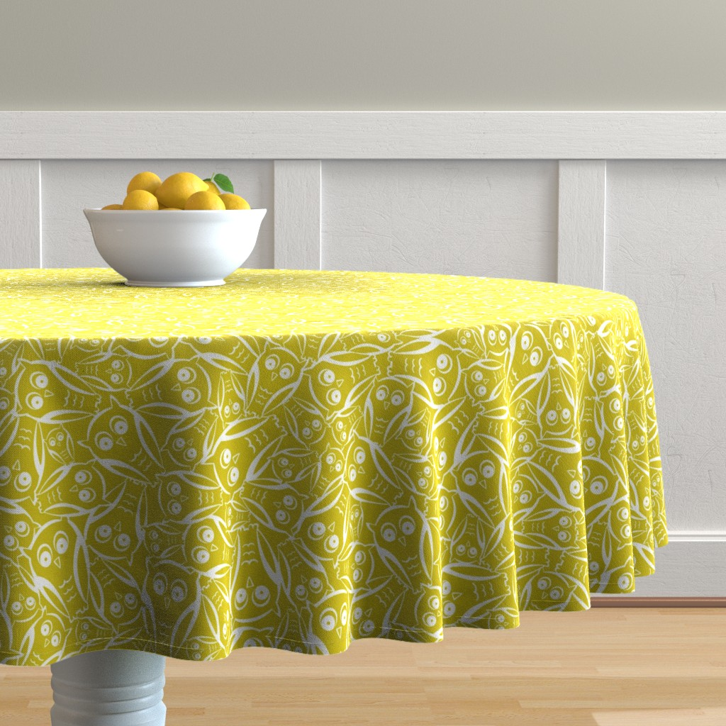 Malay Round Tablecloth featuring Night Owl - Yellow Glow by heatherdutton