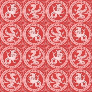 13th Century Dragon Tile ~ Richelieu Red and White