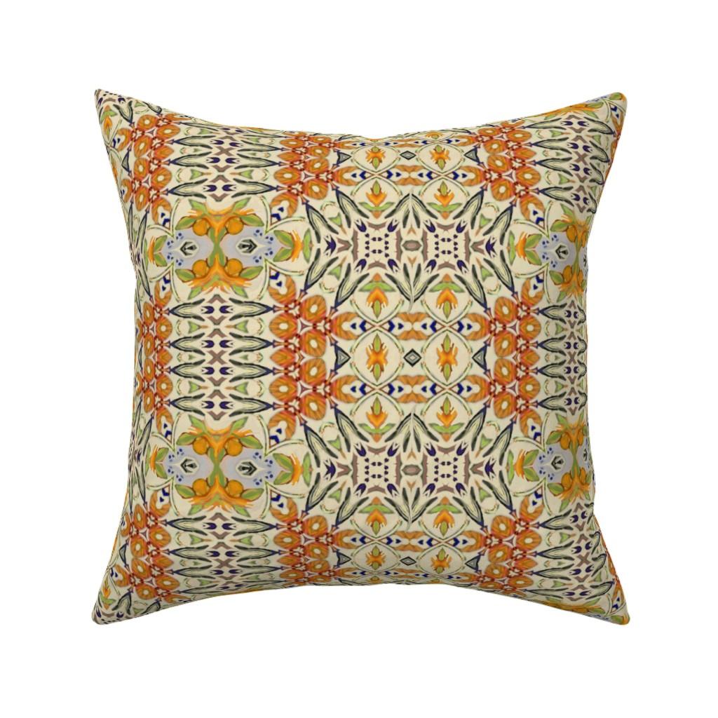 Catalan Throw Pillow featuring talavera-lotus-mex5b by wren_leyland
