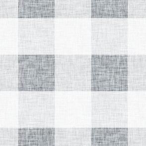 Grey Linen Buffalo Plaid