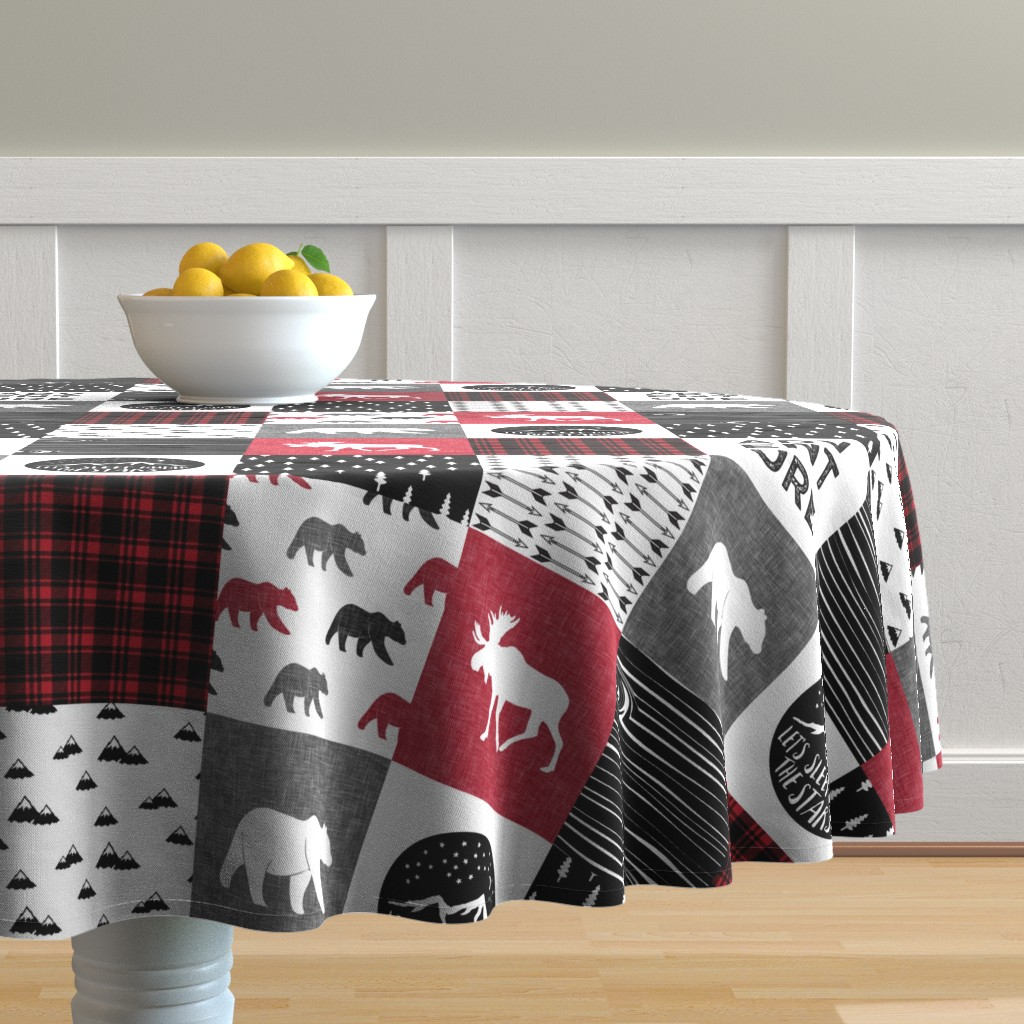 Malay Round Tablecloth featuring Happy Camper || Wholecloth Quilt Top - Lumberjack collection by littlearrowdesign