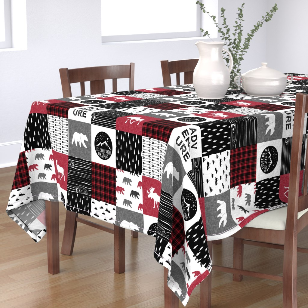 Bantam Rectangular Tablecloth featuring Happy Camper || Wholecloth Quilt Top - Lumberjack collection by littlearrowdesign