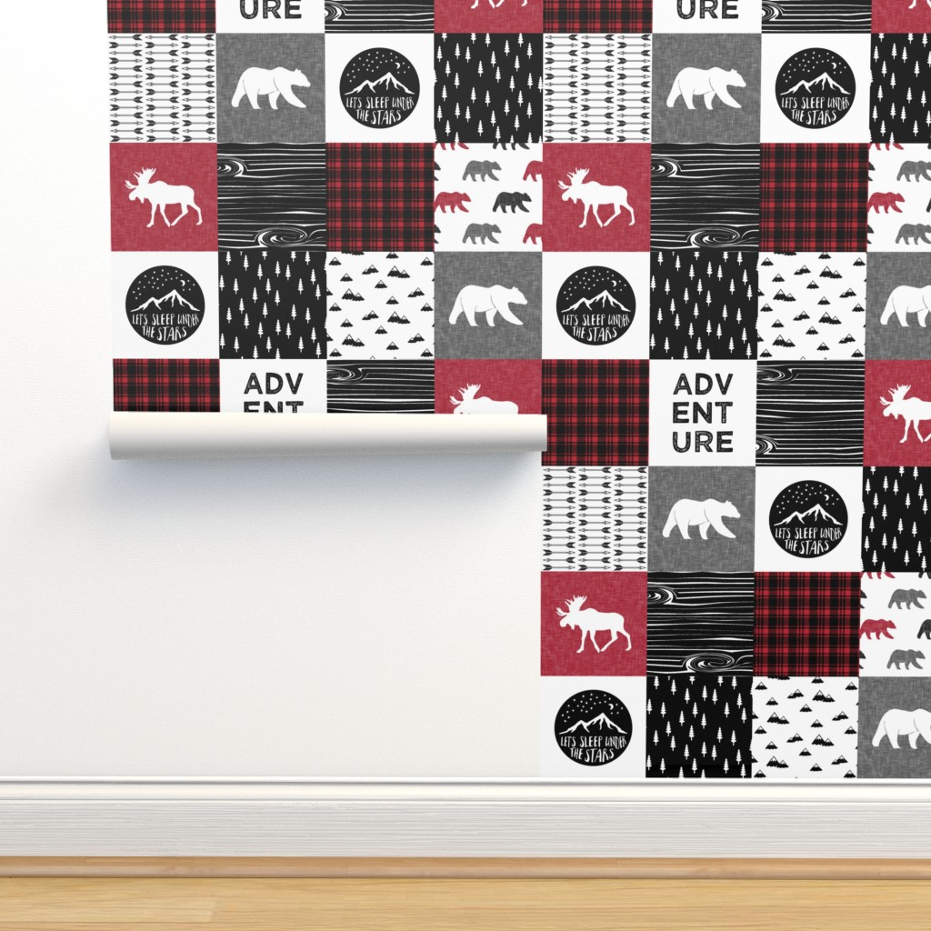 Isobar Durable Wallpaper featuring Happy Camper    Wholecloth Quilt Top - Lumberjack collection by littlearrowdesign