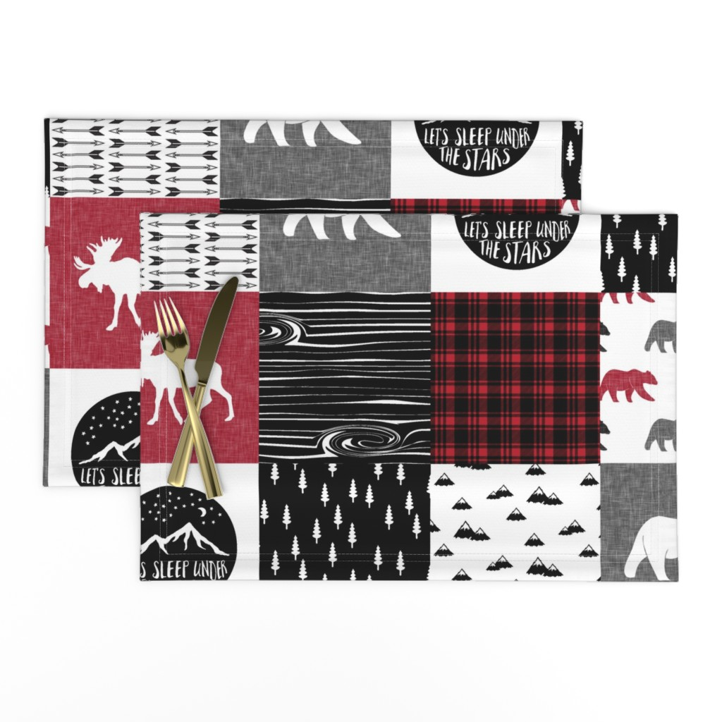 Lamona Cloth Placemats featuring Happy Camper || Wholecloth Quilt Top - Lumberjack collection by littlearrowdesign