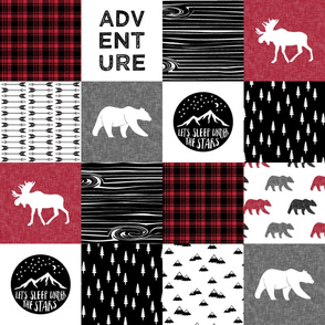 Happy Camper || Wholecloth Quilt Top - Lumberjack collection