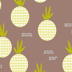 Retro round pineapple fruit kitchen pastel Scandinavian style summer design gender neutral lime