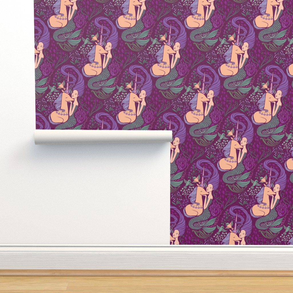 Isobar Durable Wallpaper featuring  The Mermaid and the Unicorn - Levantine by ceciliamok