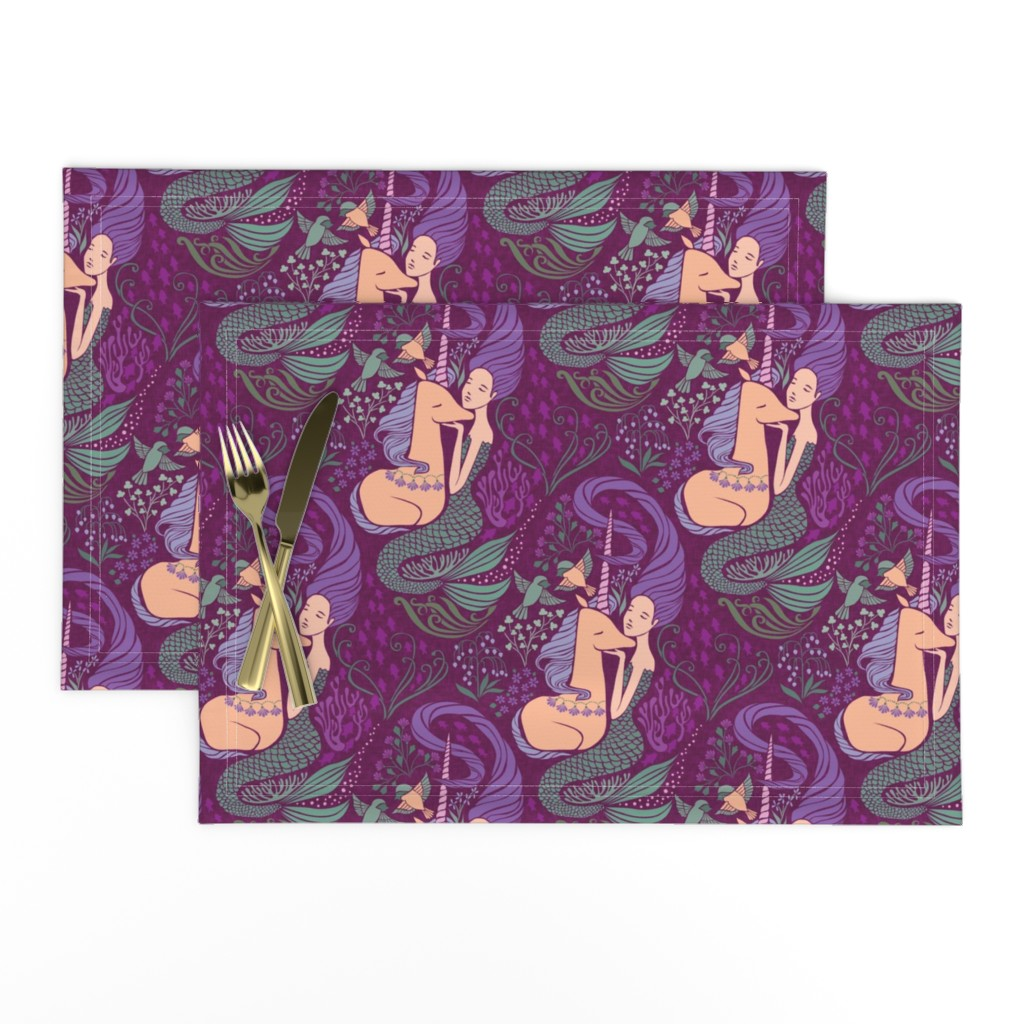 Lamona Cloth Placemats featuring  The Mermaid and the Unicorn - Levantine by ceciliamok