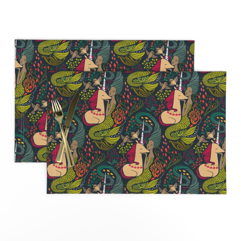Lamona Cloth Placemats featuring  The Mermaid and the Unicorn - Mamara by ceciliamok