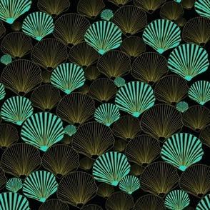 One in a Million  teal Sea Shells on black by Salzanos