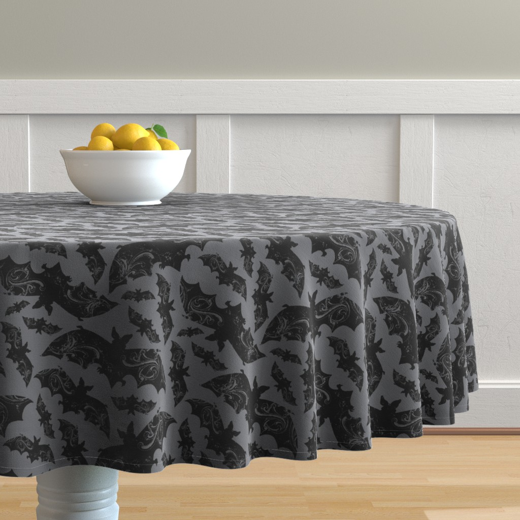 Malay Round Tablecloth featuring Night Flight - Gothic Halloween Bats Grey by heatherdutton