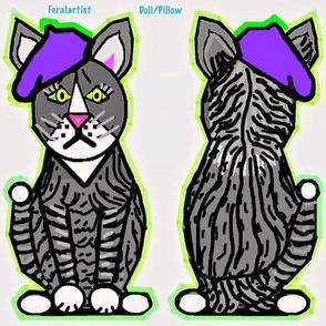 Artist Fabric - Feralartist Cut and Sew Cat Doll in Purple