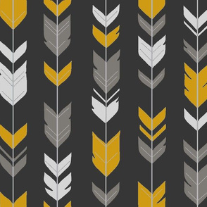 Arrow Feathers - Flint - charcoal, grey, gold, silver
