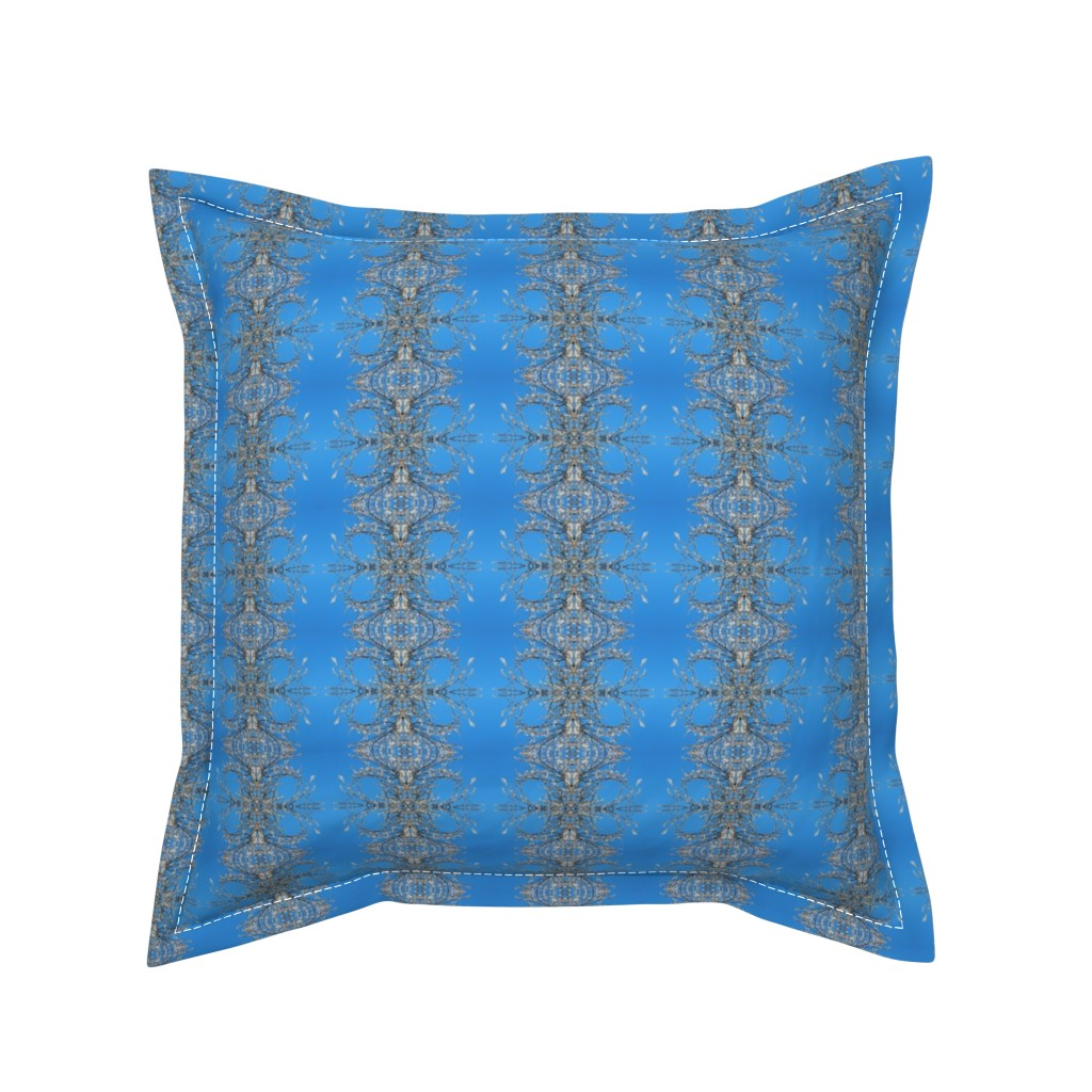 Serama Throw Pillow featuring White_Blossom_Blue_Sky_Patttern by jane_izzy_designs
