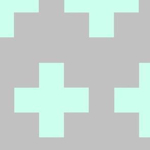 Cheater Quilt in Aqua Gray Plus