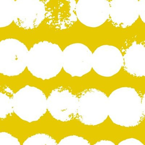 Circles and rows cool Scandinavian style dots brush strings gender neutral yellow XL