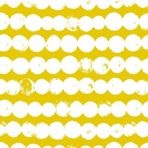 Circles and rows cool Scandinavian style dots brush strings gender neutral yellow M
