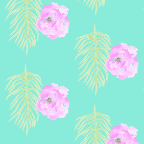 Magenta Tropical Flowers / Turquoise
