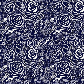 Floral Explosion Small Print (Navy & White)