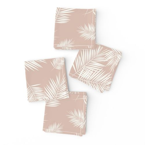 Palm Leaf Tropical Tablecloth Blush On White  by sunny/_afternoon Bush Leaves Cotton Sateen Tablecloth by Spoonflower