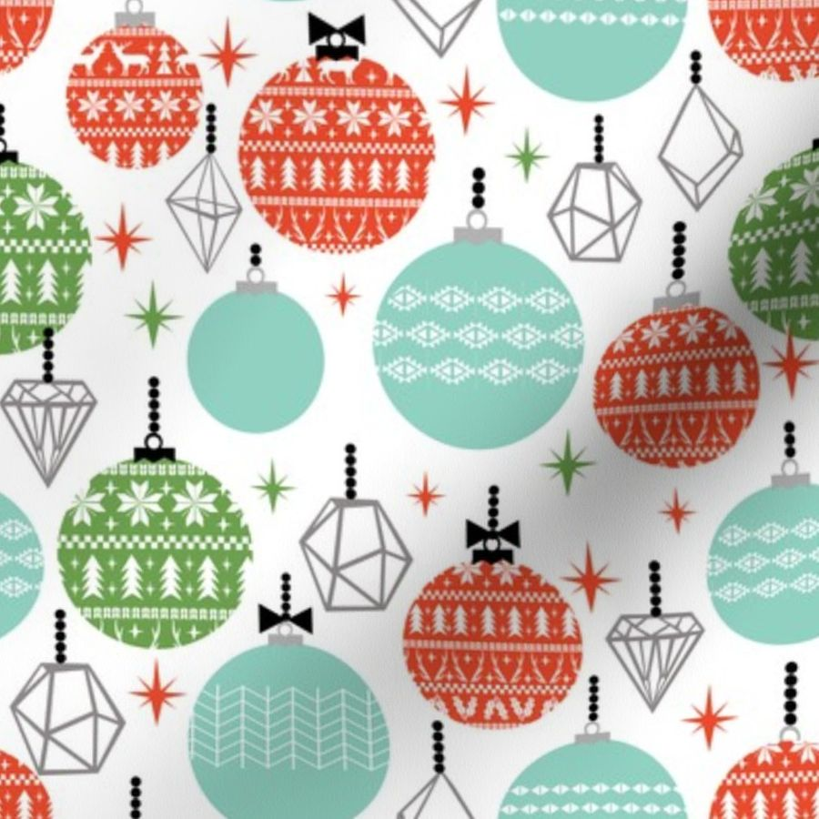 Fabric By The Yard Ornaments Scandi Festive Holiday Ornaments Christmas Holiday White Background Kids Christmas Ornaments Fabric Cute Designs For Kids