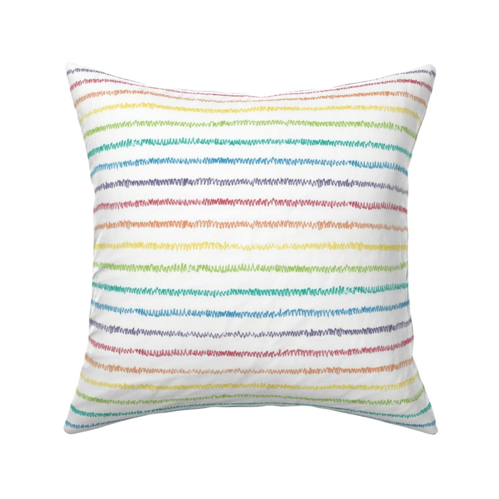 Catalan Throw Pillow featuring rainbow crayon mini-stripe by weavingmajor