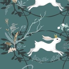 Bunny Prince Damask (teal)