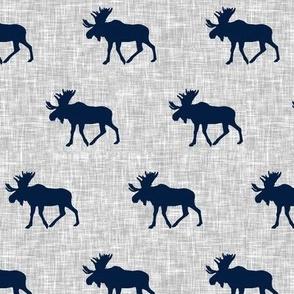 navy moose on light grey linen