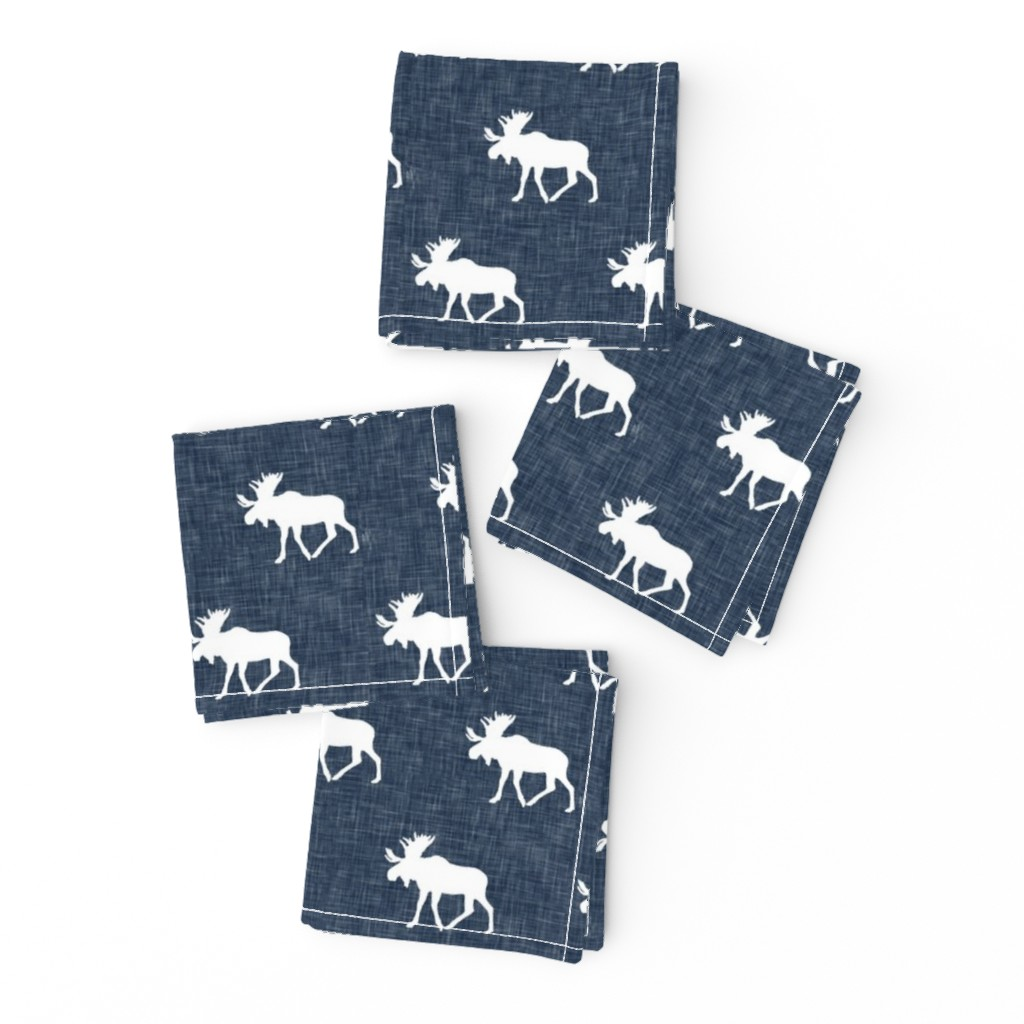 Frizzle Cocktail Napkins featuring moose on navy linen (small scale) by littlearrowdesign