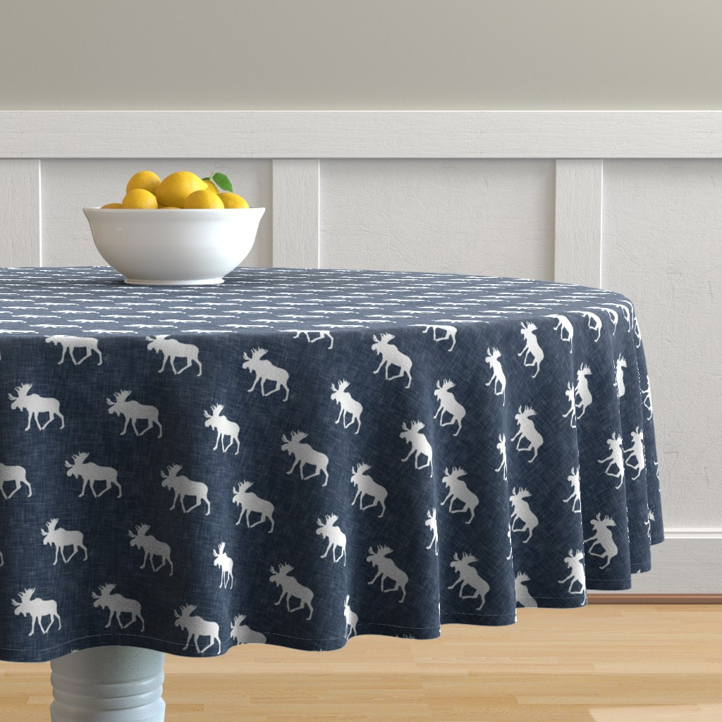 Malay Round Tablecloth featuring moose on navy linen (small scale) by littlearrowdesign
