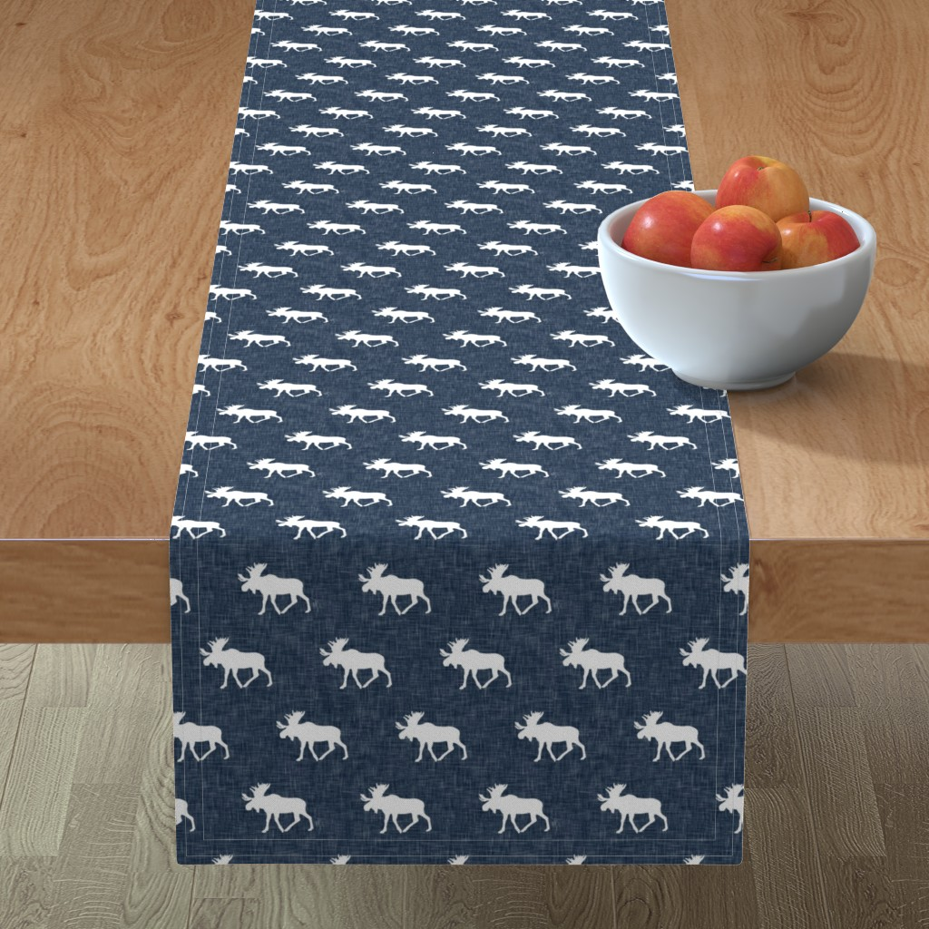 Minorca Table Runner featuring moose on navy linen (small scale) by littlearrowdesign