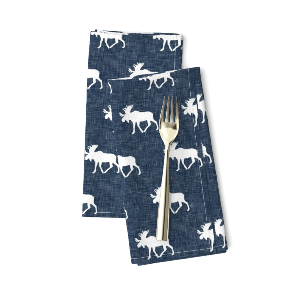 Amarela Dinner Napkins featuring moose on navy linen (small scale) by littlearrowdesign