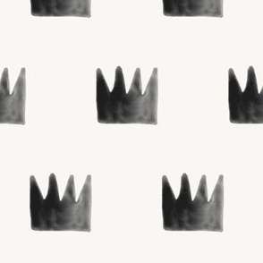 Watercolor crowns - monochrome black and white watercolor