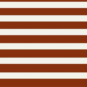 Stripes - rusty red and Ivory, horizontal stripes, potters clay || by sunny afternoon
