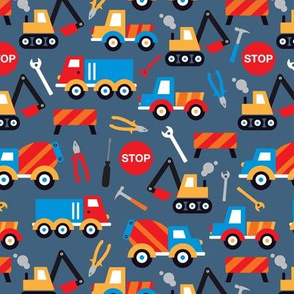Kids illustration construction truck and tools boy pattern XS