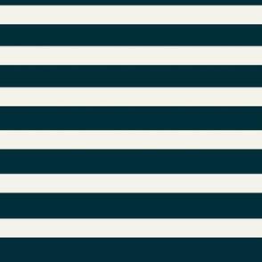 Navy stripes - horizontal stripes navy indigo natural ivory    by sunny afternoon